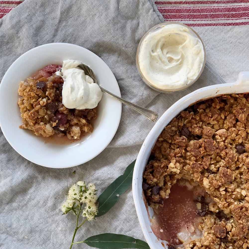 Pear and Raspberry Crumble, recipe, Kitchen to Table, Yamba
