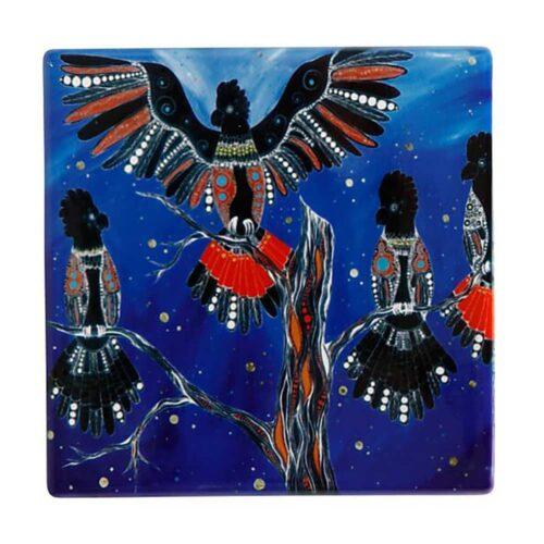 Ceramic Coaster Black Cockatoos