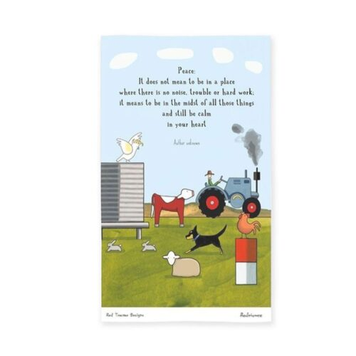 Red Tractor Tea Towel Keeping Calm