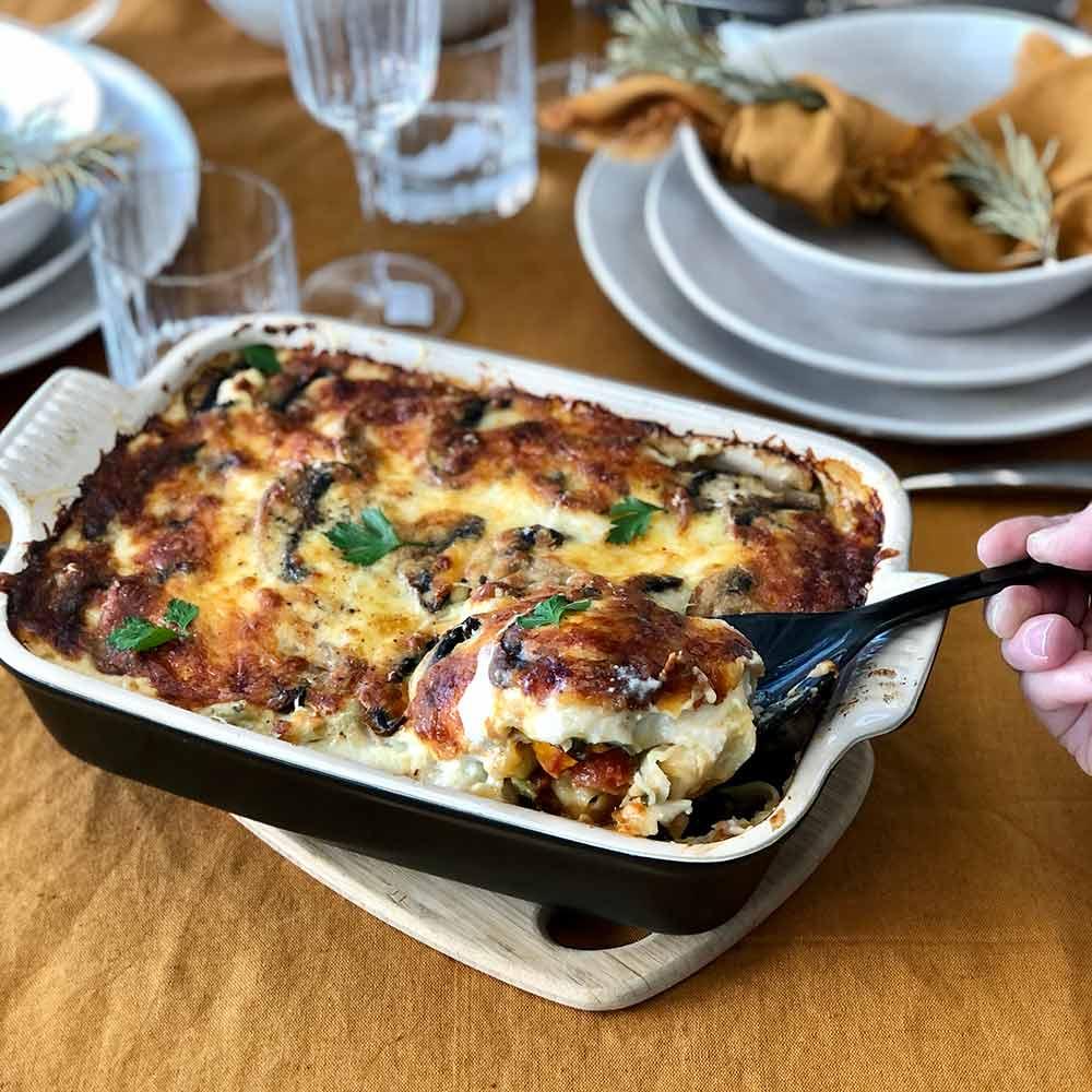 Vegetable lasagne, kitchen to table, Yamba